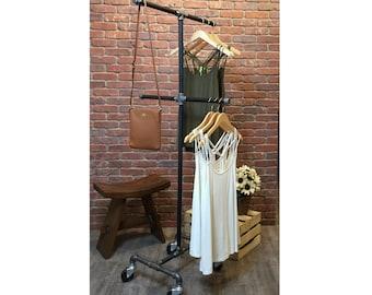 Vintage Rolling Clothing / Garment Rack 4 Way Retail Store Fixture Industrial Pipe Rack