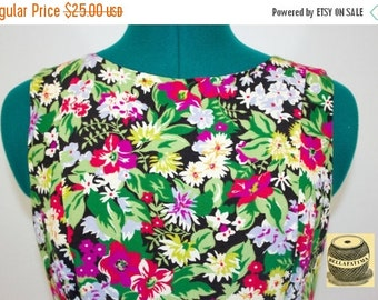 30% Off Sale Black sleeveless A-line dress with multicolor floral print, flared skirt and back zipper. By Liz Claibourne