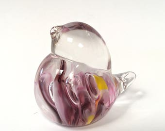 Pink and Purple Hand Sculpted Glass Bird Paperweight