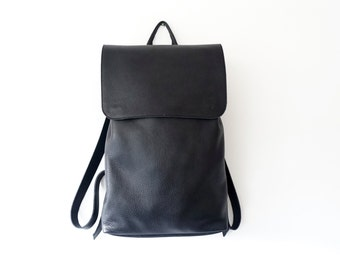 "Large Black Leather Backpack / Unisex Minimalist Leather Bag / Unlined / Traveller Bag / 15"" Laptop"