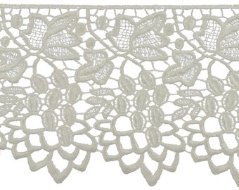 5 inch off white crochet venice grapevine lace trim by the yard, bridal lace, extra wide crochet lace, ivory crochet lace trim, oyster lace