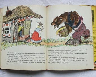 Jolly Hares by Sergei Mikhalkov (In English) - Illustrator E. Rachev - Hardcover - Vintage Children's Book, 1969. Wolf Bear Rabbit Fox Pig