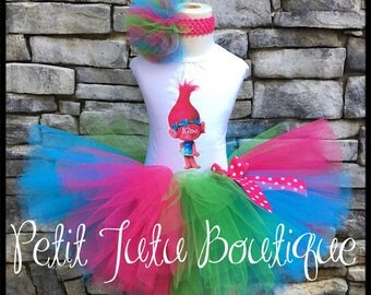 Pink Troll Poppy Birthday Tutu set any size available 12m to 10/12y  Free Personalization Name and Age