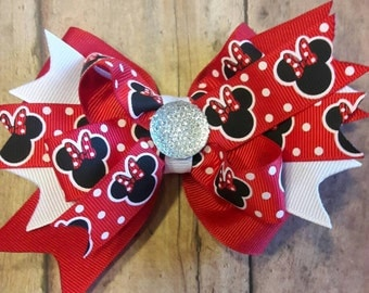 Red Minnie Mouse Stacked boutique hair bow.