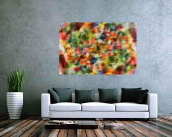 XXL abstract painting 100x150cm modern acrylic art on canvas and frame #552