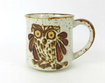 Vintage Owl stoneware coffee mug