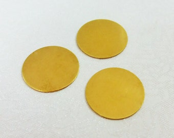 400 Pcs Raw Brass 17 mm Stamping Round Findings - No Hole - 25 Gauge
