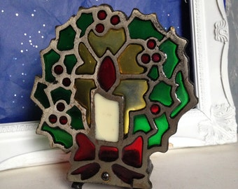 Vintage Christmas Wreath Candle Holder, Stained Glass Wreath Votive Holder, Stained Glass Christmas Wreath