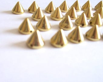Gold dome shaped beads with flat back 8mm diameter - pack of 20