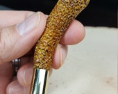Stubby Divot Accent Deer Antler Pipe Tamper with Polished Brass R*P 40 S&W Spent Shell Casing