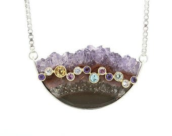 Stalagite Amethyst  Drusy Necklace in Sterling Silver