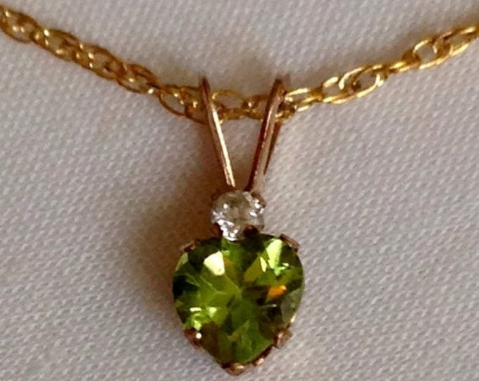 Storewide 25% Off SALE Vintage Peridot Heart Shaped 10k Gold Pendant & Necklace Featuring Solitaire Diamond Accent