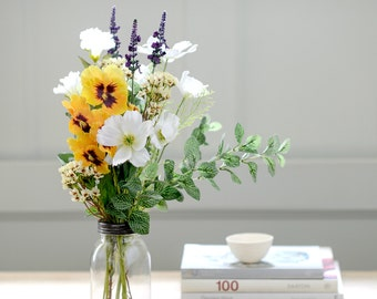 Artificial Yellow Pansy & Cosmos Posy With Vintage Style Vase | Faux Country Flower Bouquet | Silk Flowers For Home Or Wedding