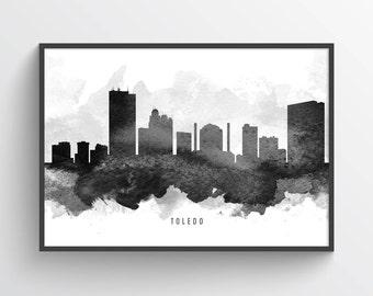 Toledo Ohio Skyline Poster, Toledo Cityscape, Toledo Print, Toledo Art, Toledo Decor, Home Decor, Gift Idea, USOHTO11P