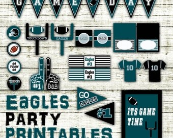 Eagles Football Party Printables and Decorations - Printable Eagles Party Decorations - 15 Pages in PDF Format - INSTaNT DOWNLoAD