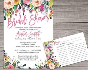 Floral Bridal Shower Invitation and Recipe Card - Watercolor Flower Invitation - Spring Bridal Shower Invitation -  Bridal-154