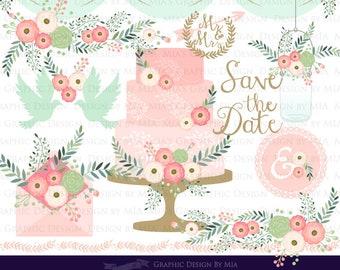 Floral Wedding Pink / Wedding Clip Art - Instant Download - CA142