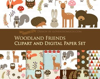 30% off Woodland Friends / Animals / Camping Clip Art + Digital Paper Set / Fall Clip Art / Fall Digital Paper - Instant Download
