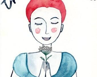 Original watercolor drawing, Zeichnung, Illustration, Aquarell, Frau mit Blumen