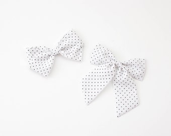 Black and White Dot Fabric Bow, Hand Tied Fabric Bows, Baby Girl, Toddler, Girls Fabric Bow Headband or Hair Clip
