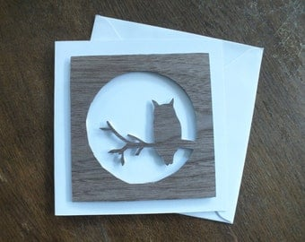 A Hand Cut Walnut Veneer Quality Square Greetings Card with a Owl in Front of the Moon Design