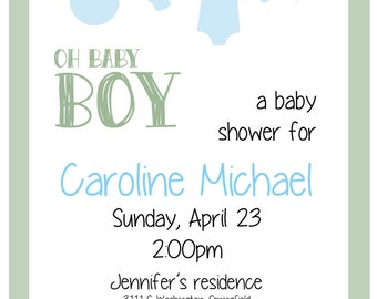 Cute Clothesline Baby Boy Shower Invitation