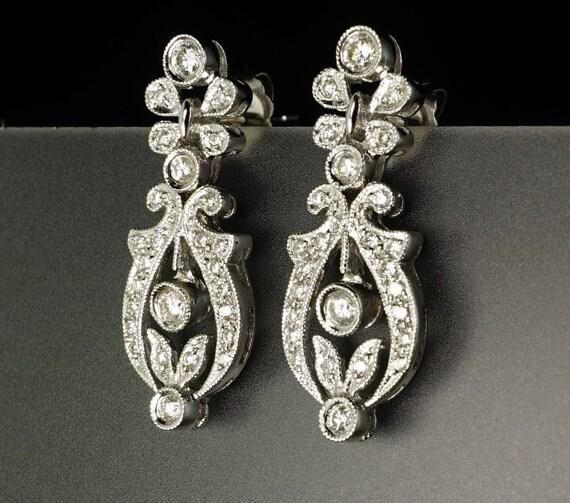 18K White Gold Diamond Openwork Edwardian-Style Modern Dangle Scroll Earrings