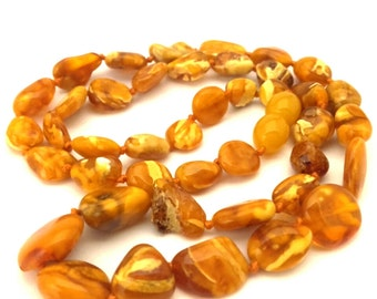 Amber Baltic Necklace Antique Natural Genuine 10.92 Gr Cream Egg Yolk Color