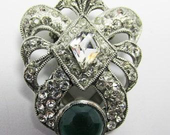 Scrumptious Vintage 1930s Pot Metal Clear and Emerald Green Rhinestone Dress Clip