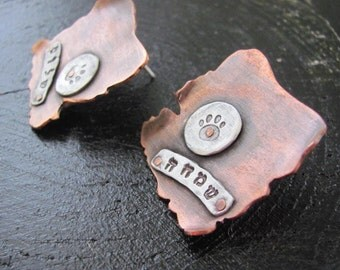 Copper Jewelry Earrings, Stud Copper Earrings, Silver Earrings, Earrings, Hammered Earrings, Metalwork Earrings, Rustic Metal Earrings
