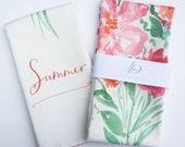 SALE: Summer Watercolor Floral Tea Towel Cotton / Linen Blend by Louise Dean