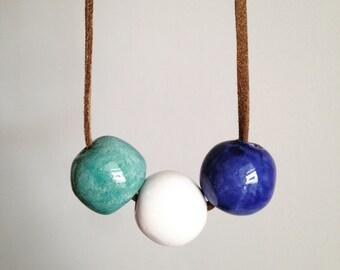 Ceramic bead necklace, ceramic necklace, Beaded necklace, ceramic jewelry, unique gift