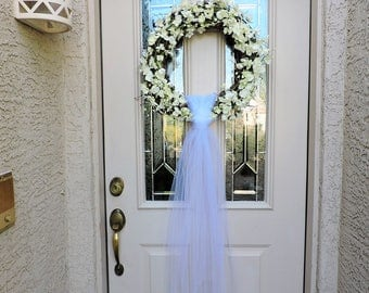 Wedding Orchid Front Door Wreath with Tulle, Wedding Wreath, Bridal Shower Wreath, Orchid Wreath, Tulle Wedding Wreath, Bridal Wreath