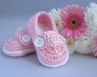 Baby Girl's Handmade Crocheted Loafer Style Booties