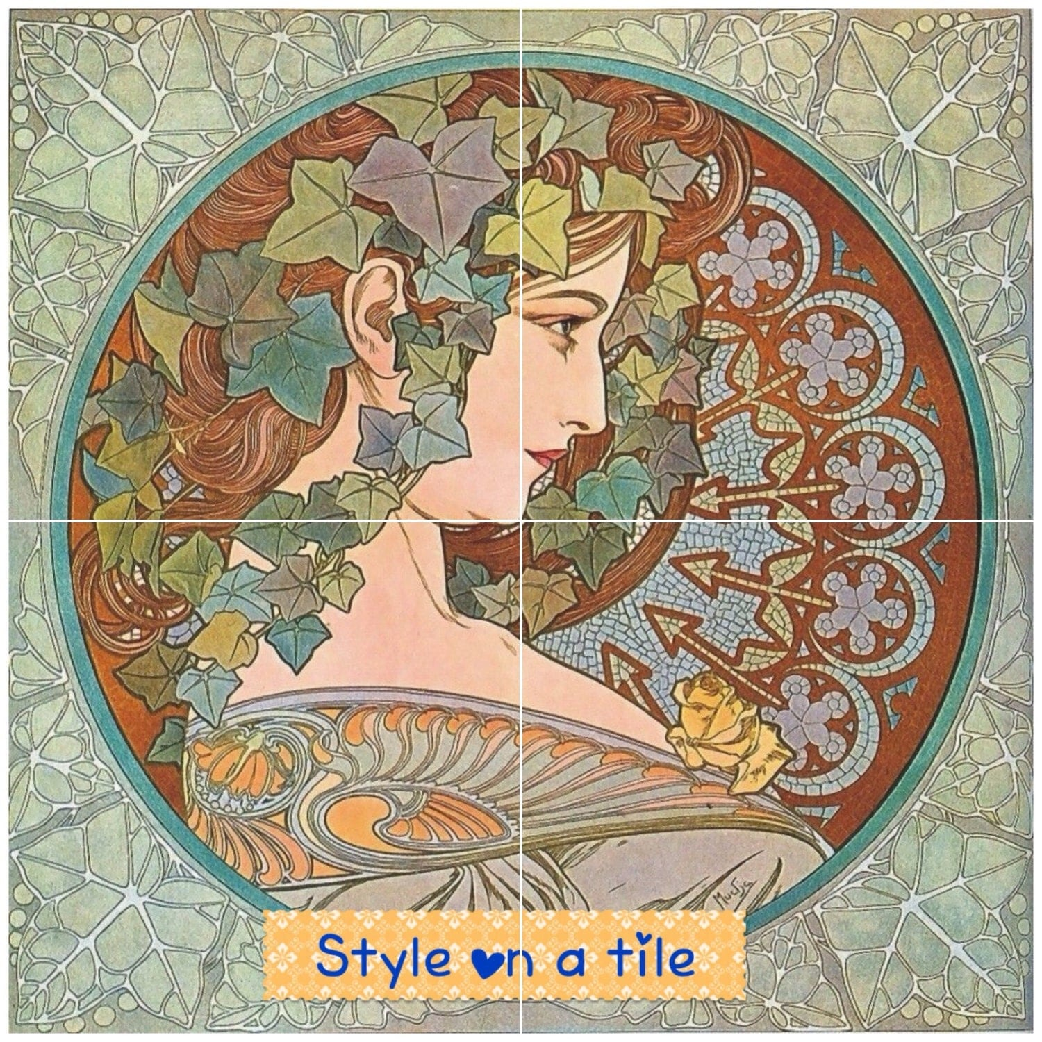 Lovely art nouveau alphonse mucha ivy lady 4 x 425 or 108mm 216mm gallery photo dailygadgetfo Gallery
