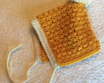 Readyto ship - Crochet hat- pompom pixie bonnet, handmade, ready to ship