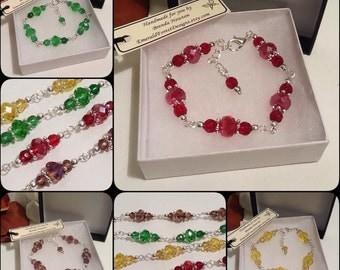 Four Colours Adjustable Crystal Bracelet Handmade by Emerald Forest Designs