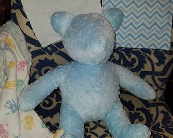 Medium Blue dot minky bear
