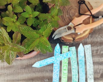 Plant stakes decoration herbs name, custom pot markers, clay tags for garden, gift for gardening lovers, basil parsley mint thyme rosemary