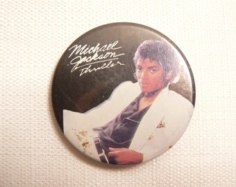 BIG Vintage 1980s Michael Jackson - Thriller Album  - Pin / Button / Badge