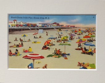 Ocean City, NJ, Vintage Postcard, Matted for Display, from the 1940's-50's, Beach, Boardwalk, Fun Colorful Beach Umbrellas
