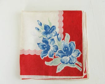 STUNNING Vintage 1940s Handkerchief Colourful Red, White, and Blue Floral Hanky WW2 Lovely Hankie