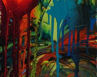 Get Me A Signal - abstract acrylic drip art