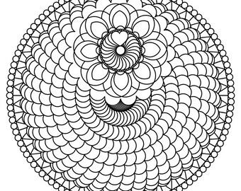 Printable Spiral Mandala Coloring Page