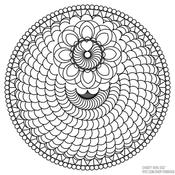 spiral coloring pages to print | Printable Spiral Mandala Coloring Page