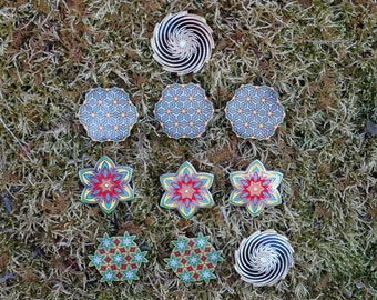 10 pack T - FREE SHIPPING - Trippy Heady Festival Hat Pin psychedelic Sacred Geometry wholesale cheap discount pack sale edm