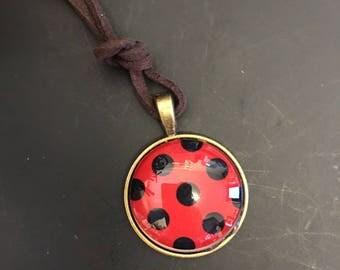 Retro vintage shabby chic polka dot ladybug star necklace