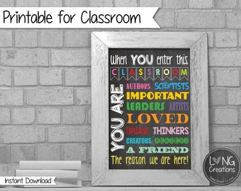 classroom printable - teacher print - chalkboard print - in this classroom you are - instant download - printable digital file -teacher gift