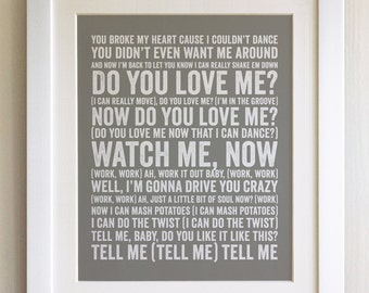 FRAMED Lyrics Print - The Contours, Do You Love Me, - 20 Colours options, Black/White Frame, Wedding, Anniversary, Valentines, Fab Picture