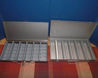 2 slide boxes. Vintage slide box. Adams slide box. 35 mm camera slide box.  Slide box